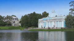 "Pavilion ""Grotto"" on the bank of Big pond of Catherine Park. Pushkin. Petersburg - stock footage"