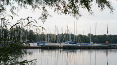 Sailboats in the harbor Stock Footage