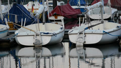 Sailing dinghies in the harbor Stock Footage