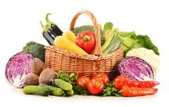 Composition with variety of fresh raw organic vegetables Stock Photos