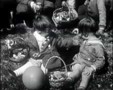 1924 - Children Rolling Easter Eggs At White House 02 Stock Footage