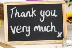 Thank you very much message written in chalk on a small blackboard Stock Photos