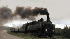 Steam engine. historic train. nostalgic transportation. slow motion Stock Footage