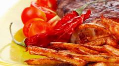 Food : big grill beef meat steak Stock Footage