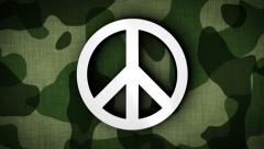PEACE SYMBOL in Military Door (2 Versions) Stock Footage