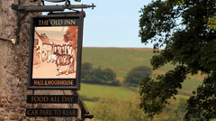 Old Inn - Traditional English Pub Sign Stock Footage