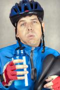 Exhausted cyclist Stock Photos