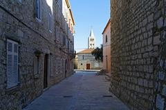Stock Photo of croatia, kvarner, rab, cathedral of st mary the great, bell tower of romanesq