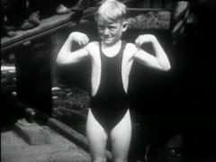 1927 - 6 y.o. Boy Swims Hudson River Stock Footage