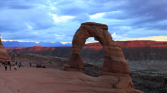 Delicate arch sunset time lapse Stock Footage