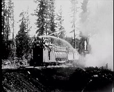 1928 - Fire Fighting Train Forest Fire 02 Stock Footage