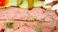 Stock Video Footage of beef slices on plate