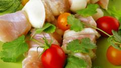 Uncooked chicken kebabs Stock Footage