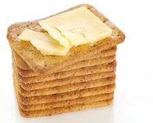 cheddar cheese and crackers - stock photo