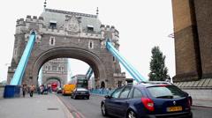 London Tower Bridge - Cars Crossing Stock Footage