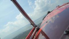 WWII Biplane banking turn - flying airplane Stock Footage
