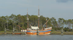 16th century Ship - Elizabeth II - Roanoke Island - Historical boat Stock Footage
