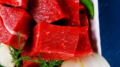 Fresh uncooked beef meat slices over white bowls Stock Footage
