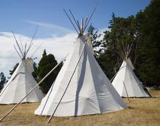 three teepees - stock photo