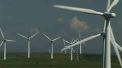 Wind turbine and grass - stock footage