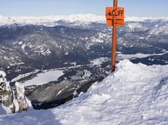 cliff sign at whistler - stock photo