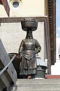 Statue of woman marketplace seller in the street of zagreb croatia Stock Photos