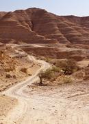 Road through negev desert hills Stock Photos