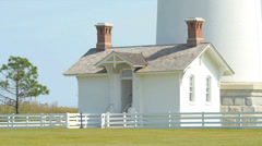 Base of 1872 Bodie Island Lighthouse - Nags Head, NC - stock footage