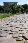 Ancient roman road Stock Photos