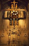 all saints chapel trinity church new york city inside stained glass - stock photo