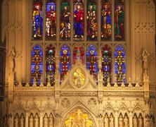 Trinity church new york city inside stained glass altar close up Stock Photos