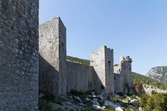 the longest medieval defense walls in europe, mali, stone, croatia - stock photo