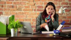 Stock Video Footage of Businesswoman giving reprimand to someone over the phone HD