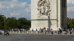 Arc De Triomphe with lots of visitors on a sunny day, Paris, France Stock Footage
