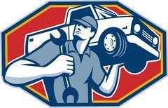 Automotive mechanic car repair retro Stock Illustration