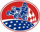 Ride on lawn mower racing retro Stock Illustration