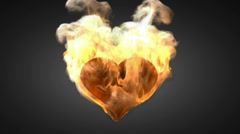 Burning heart. Alpha matted Stock Footage