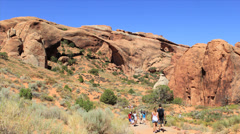 tourists at arches National Park - stock footage