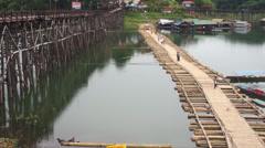 Timelapse of life community Sang-Kla-Buri the Mon Bridge collapse. - stock footage