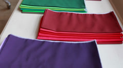 Scarves for color selection, personal consultation of imagemaker Stock Footage