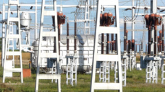 Power transformer and birds - stock footage