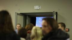 Crowd entering the cinema hall Stock Footage