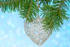 Silver heart on the fir branch Stock Photos