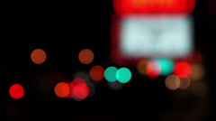 Neon Marquee Bokeh with Traffic Stock Footage