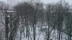 Winter snow in a small russian town Stock Footage