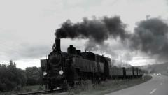 steam engine. historic train. nostalgic transportation. slow motion - stock footage