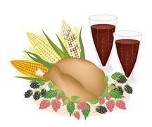 Delicious Roast Turkey, Sweetcorn, Berry Fruit and Juice Stock Illustration
