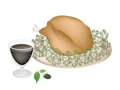 Delicious Roast Turkey and Herbs with Blackberry Fruit - stock illustration