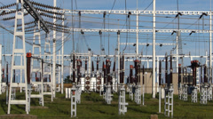 Electric Power and Transformer Stock Footage