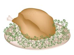 A Plate of Delicious Roast Turkey and Herbs - stock illustration